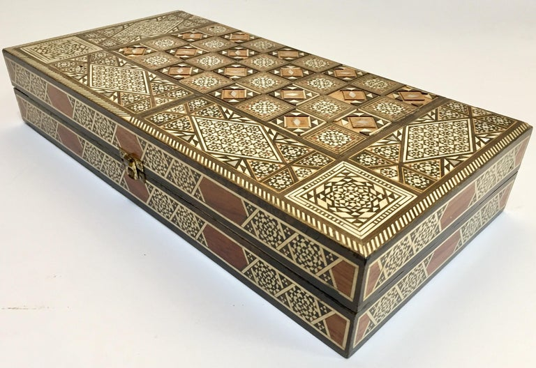 Marquetry Vintage Large Complete Syrian Inlaid Mosaic Backgammon and Chess Game For Sale