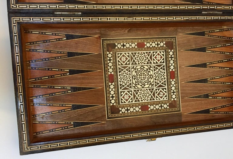 Vintage Large Complete Syrian Inlaid Mosaic Backgammon and Chess Game For Sale 2