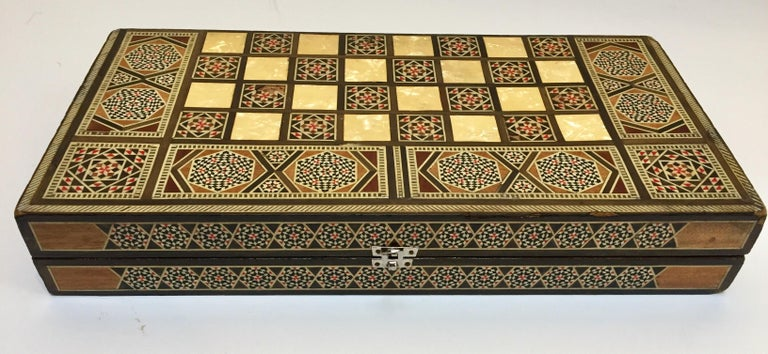 20th Century Large Mosaic Syrian Backgammon and Chess Wooden Inlaid Marquetry Box Game For Sale
