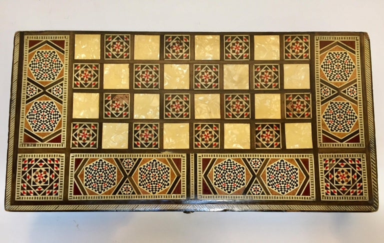 Fruitwood Large Mosaic Syrian Backgammon and Chess Wooden Inlaid Marquetry Box Game For Sale
