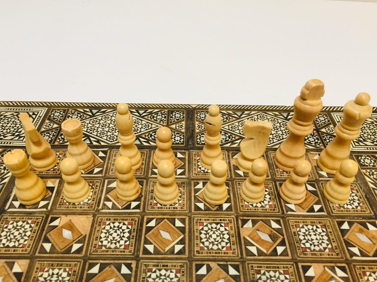 Vintage Large Complete Syrian Inlaid Mosaic Backgammon and Chess Game For Sale 7