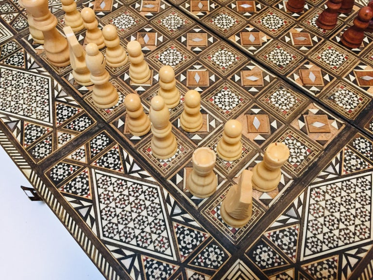 Vintage Large Complete Syrian Inlaid Mosaic Backgammon and Chess Game For Sale 8