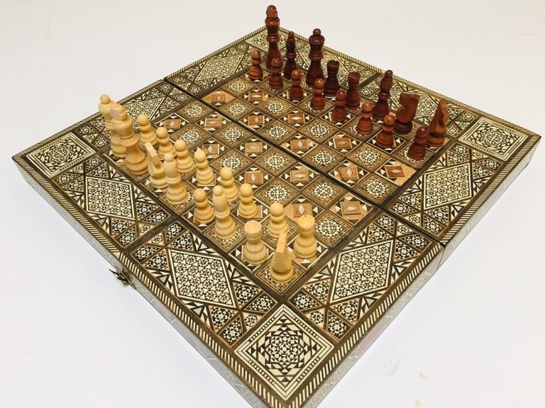 Vintage Large Complete Syrian Inlaid Mosaic Backgammon and Chess Game For Sale 9