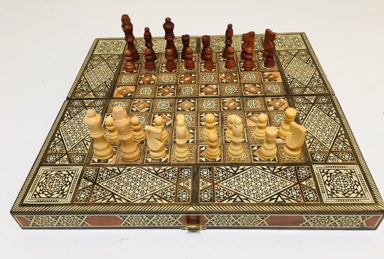 Vintage Large Complete Syrian Inlaid Mosaic Backgammon and Chess Game For Sale 11