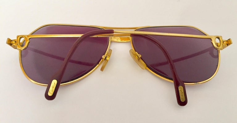 Cartier Vintage Large Vendome Santos Sunglasses with Box, 1980 In Good Condition In North Hollywood, CA