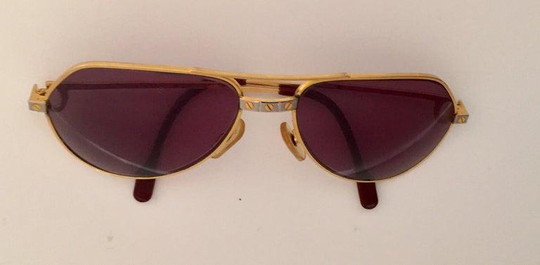 Plated Cartier Vintage Large Vendome Santos Sunglasses with Box, 1980