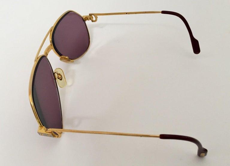 Modern Cartier Vintage Large Vendome Santos Sunglasses with Box, 1980