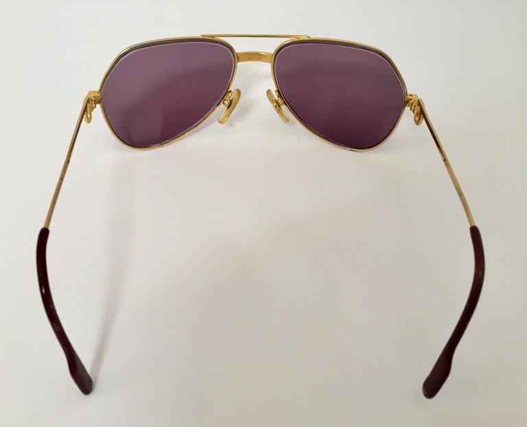 French Cartier Vintage Large Vendome Santos Sunglasses with Box, 1980