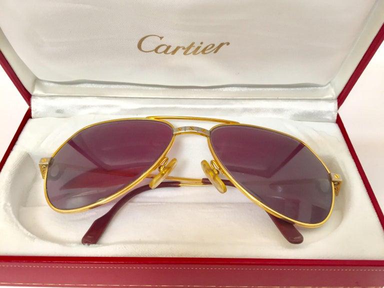 Cartier Vintage Large Vendome Santos Sunglasses with Box, 1980 8