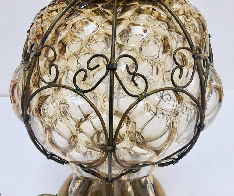 Mid-20th Century Vintage Murano Glass Italian Table Lamp by Marbro For Sale