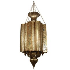 Large Moroccan Moorish Brass Chandelier