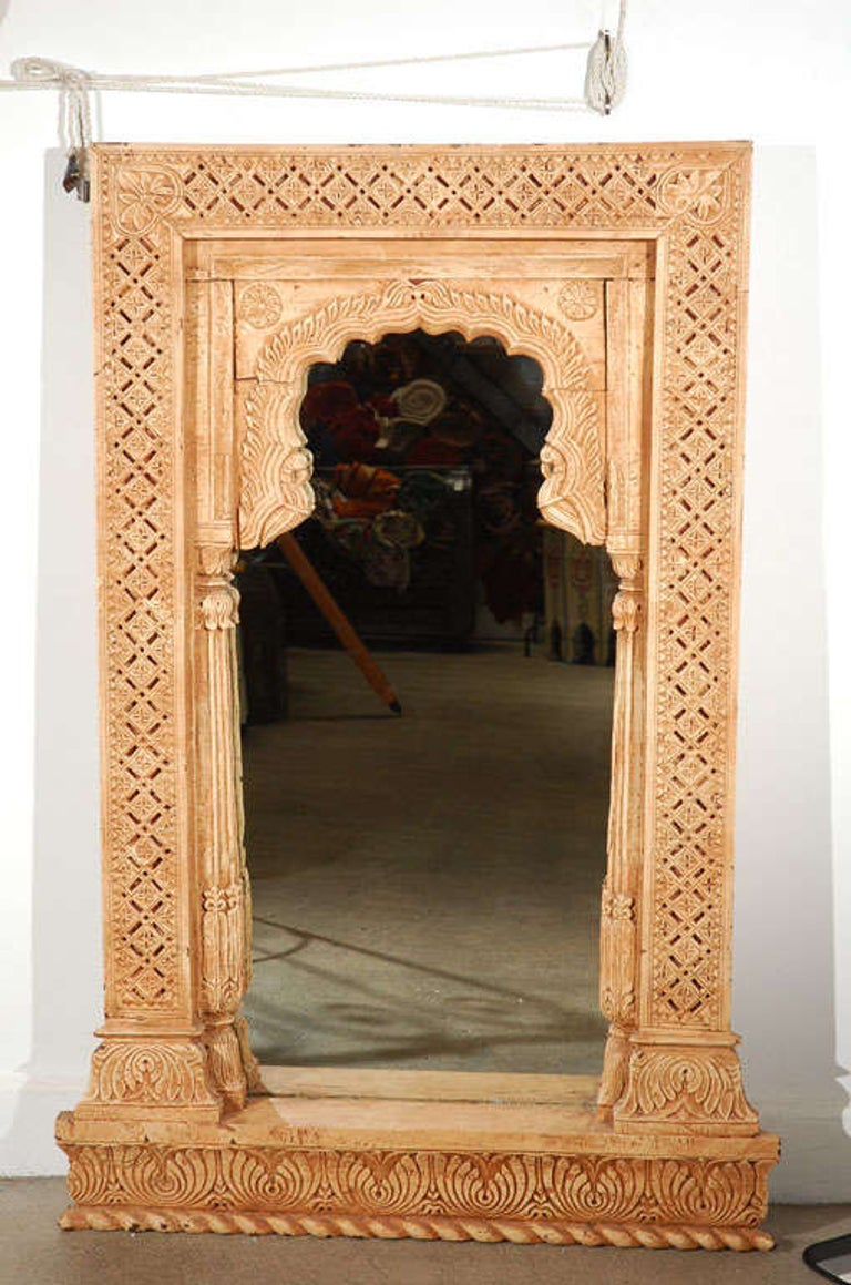 Anglo Indian Hand Carved Wood Moorish Arched Mirror At 1stdibs