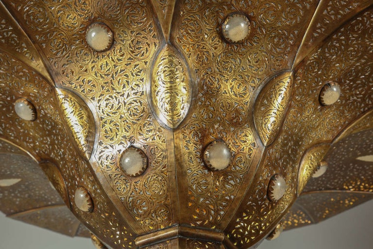 Moroccan Polished Gold Brass Chandelier in Alberto Pinto Style For Sale 1