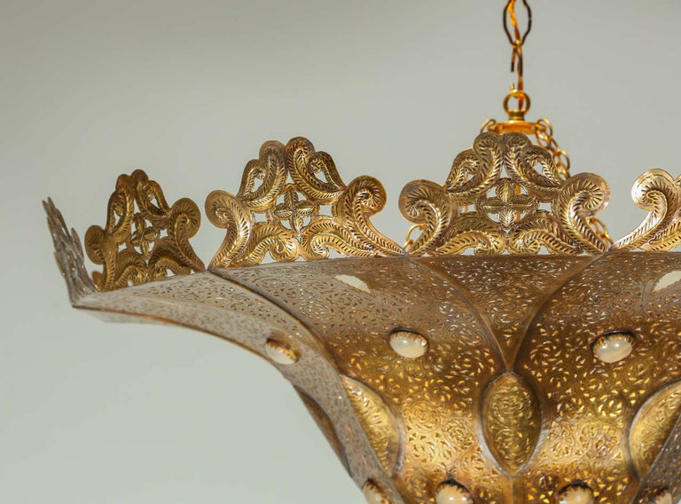 Moroccan Polished Gold Brass Chandelier in Alberto Pinto Style For Sale 2