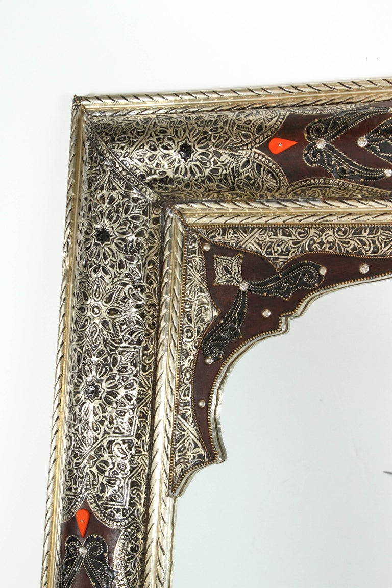 Moorish Moroccan Mirror Silvered Metal and Leather Wrapped For Sale