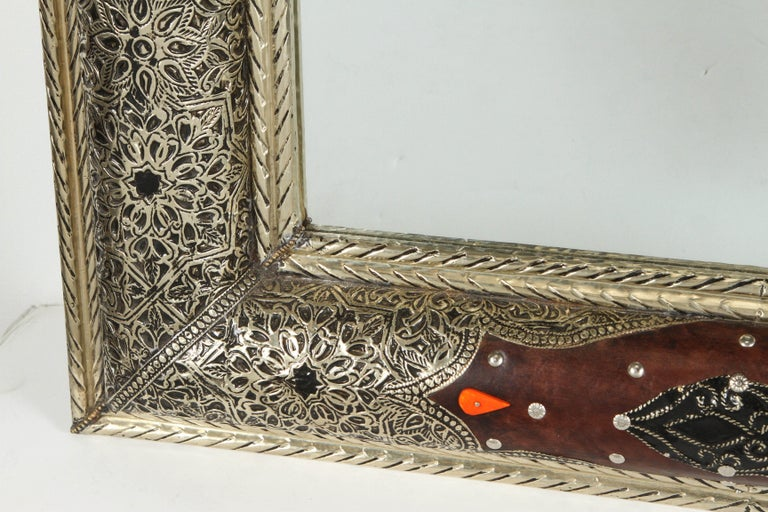 Hand-Carved Moroccan Mirror Silvered Metal and Leather Wrapped For Sale