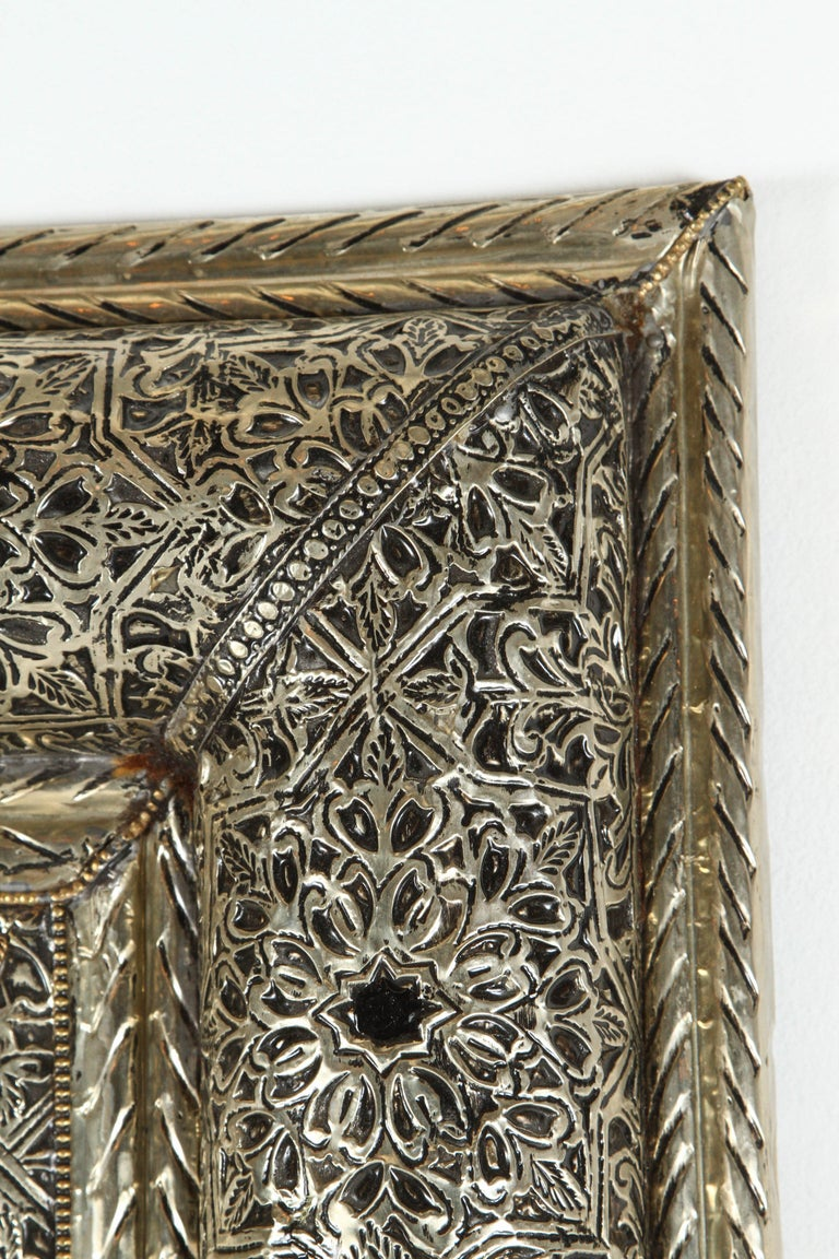 Moroccan Mirror Silvered Metal and Leather Wrapped For Sale 2