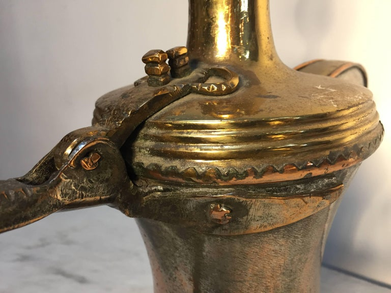 19th Century Dallah Middle Eastern Oversized Arabic Copper Coffee Pot For Sale 3