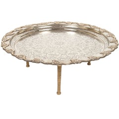 Moroccan Handcrafted Silver Round Tray