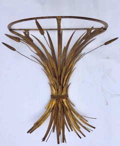 Vintage Gilded metal Sheaf of Wheat Console Table Base