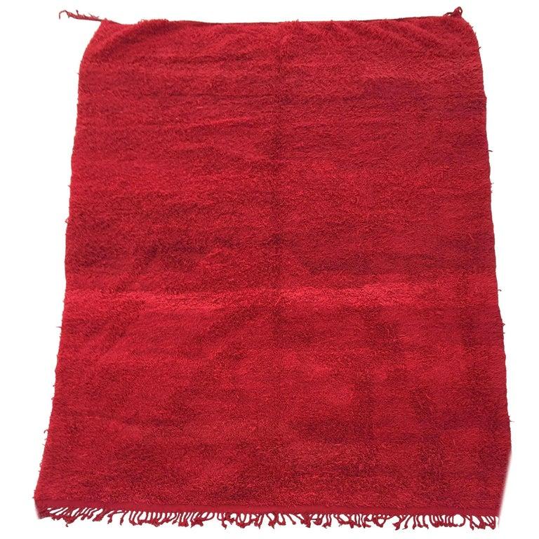 Vintage Red Tribal Moroccan Berber African Wool Rug