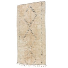 Moroccan Vintage Beni Ouarain Giant White Tribal African Rug