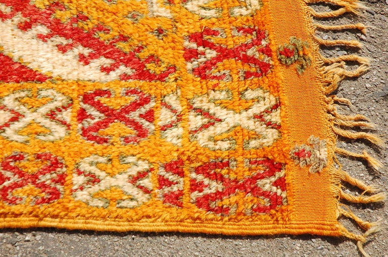 Vintage Moroccan Safran Tribal Rug In Good Condition For Sale In North Hollywood, CA