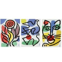 Post Modern Celestino Piatti Ceramic Art Tiles in Picasso Style