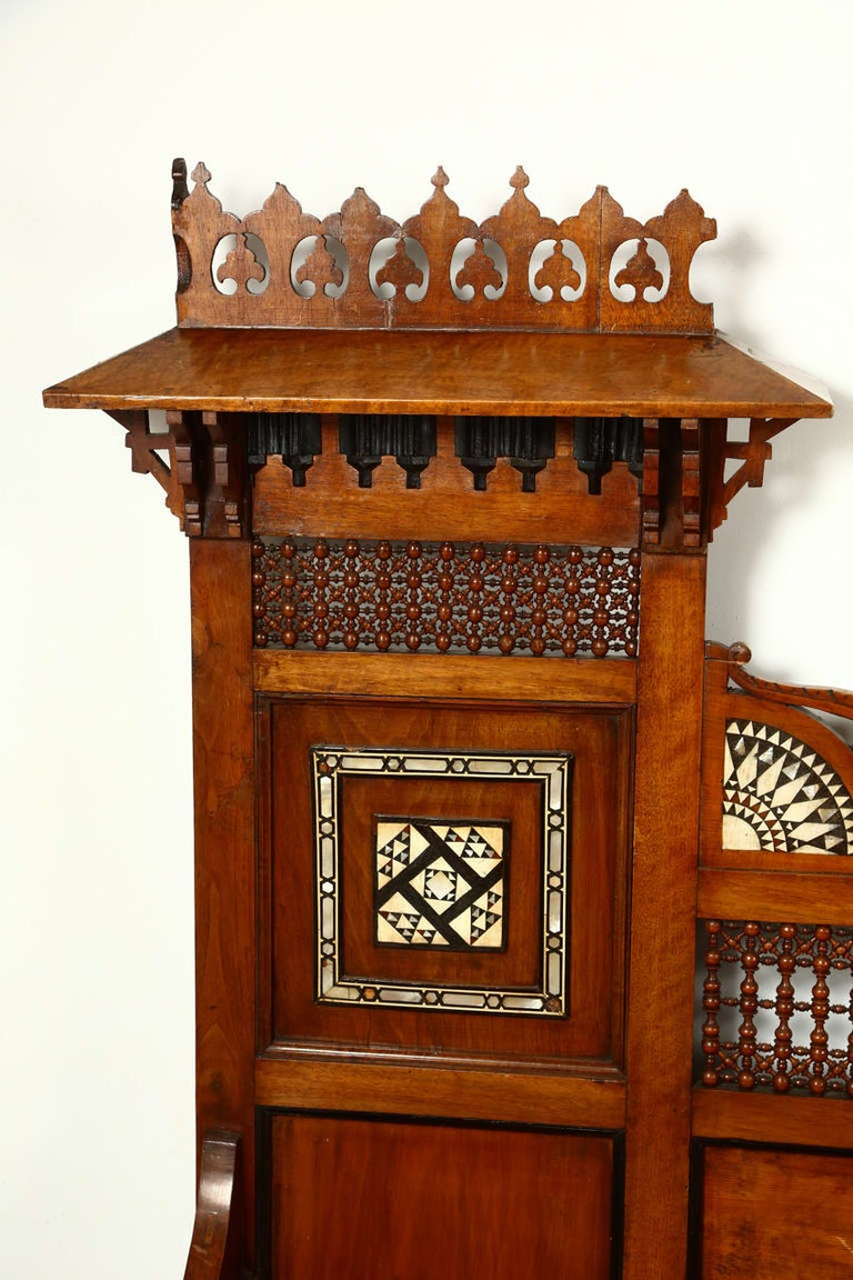 19th Century Antique 19th C. Moorish Syrian Settee with Mother-of-Pearl Inlay For Sale