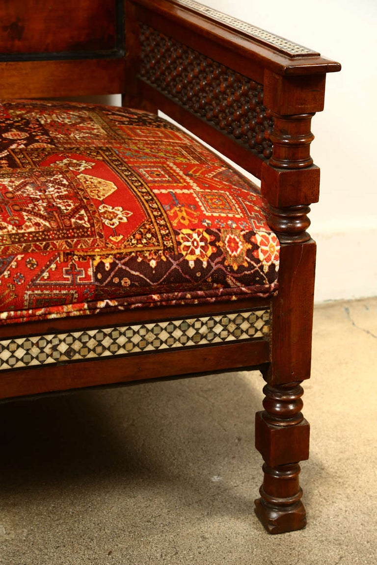 Antique 19th C. Moorish Syrian Settee with Mother-of-Pearl Inlay For Sale 1