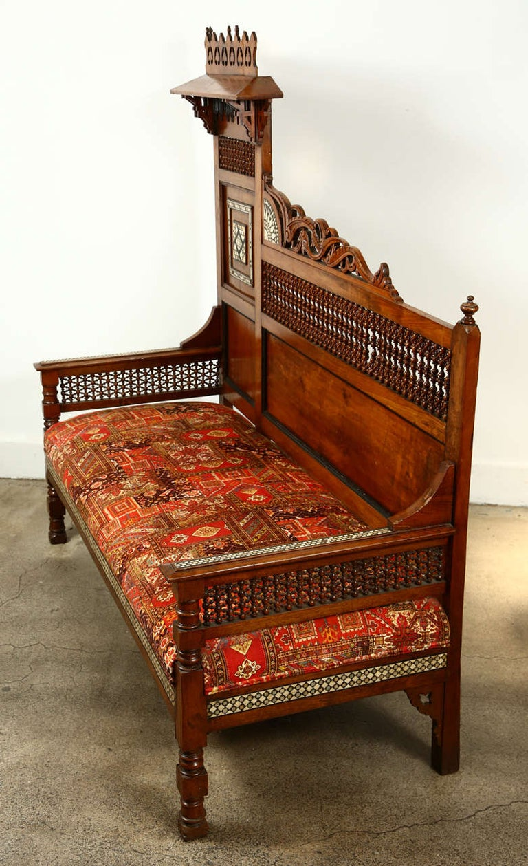 Antique 19th C. Moorish Syrian Settee with Mother-of-Pearl Inlay For Sale 5