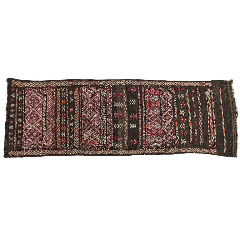 Moroccan African Tuareg Vintage Black Runner Rug For Sale