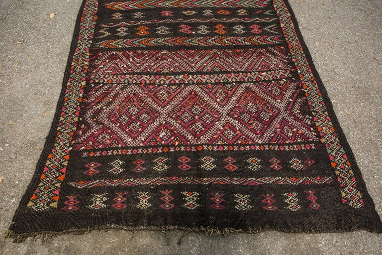 Mid-20th Century Moroccan African Tuareg Vintage Black Runner Rug For Sale