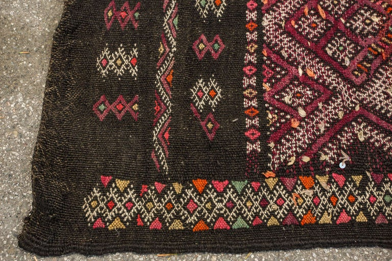 Wool Moroccan African Tuareg Vintage Black Runner Rug For Sale