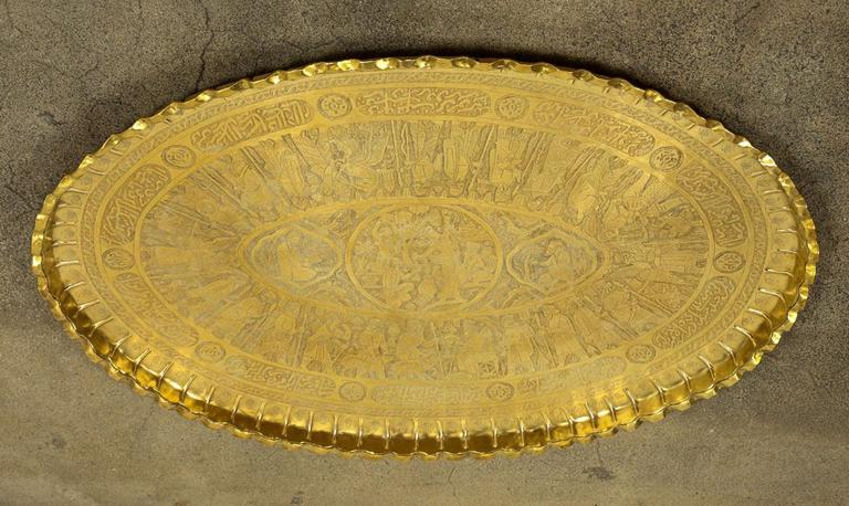 Persian Large Oval Brass Tray With Arabic Writing For Sale