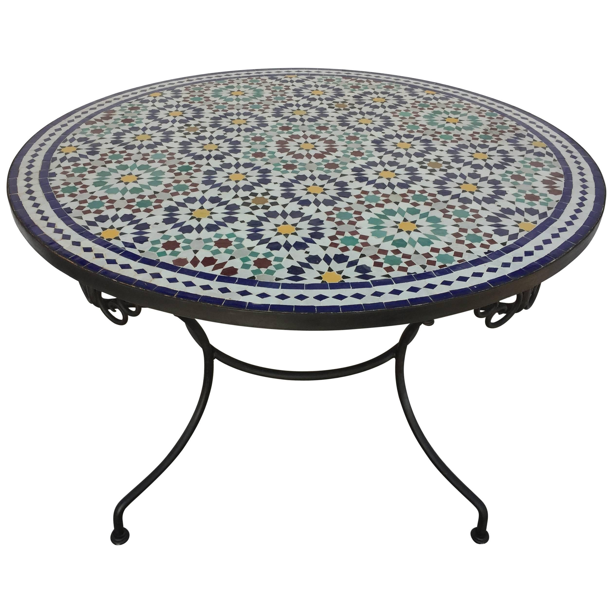 Moroccan Round Mosaic Outdoor Tile Table in Fez Moorish Design