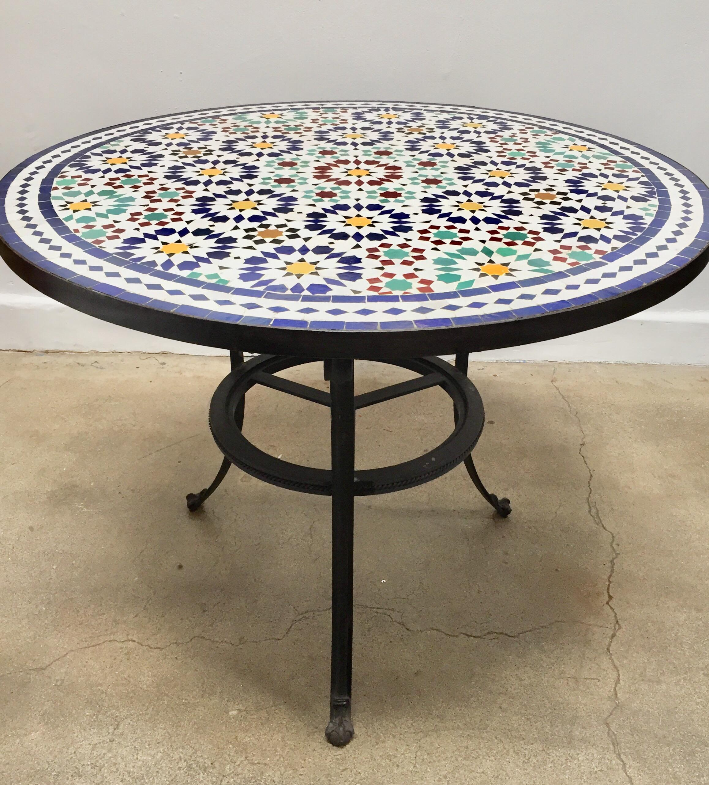 Great Moroccan Mosaic Tile Table, Delicately Handcrafted In Fez With  Traditional Islamic Moorish Geometric Design