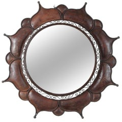 Brutalist Curtis Jere Style Handcrafted Round Outdoor Wall Mirror