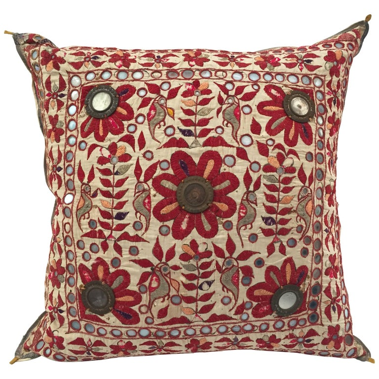19th Century, Rajasthani Colorful Embroidery and Mirrored Decorative Pillow For Sale