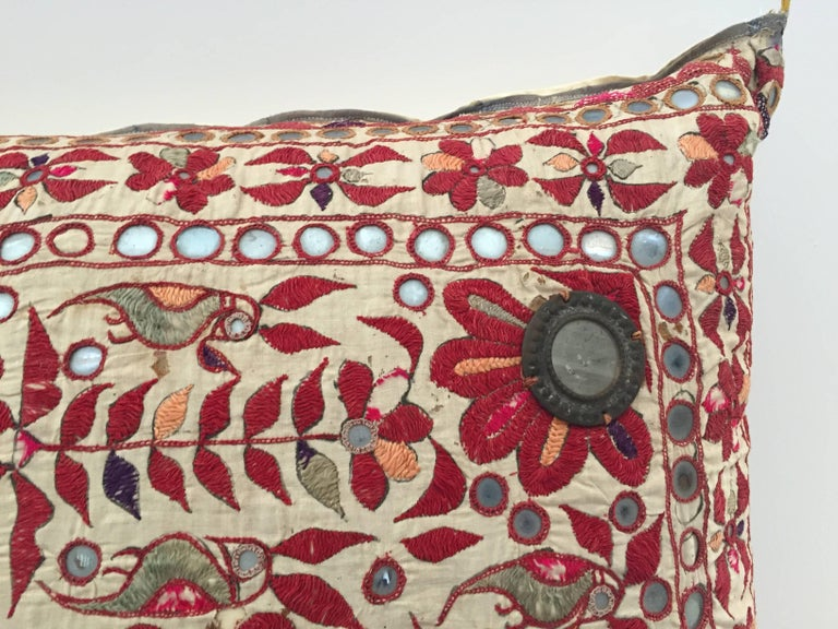 Anglo Raj 19th Century, Rajasthani Colorful Embroidery and Mirrored Decorative Pillow For Sale