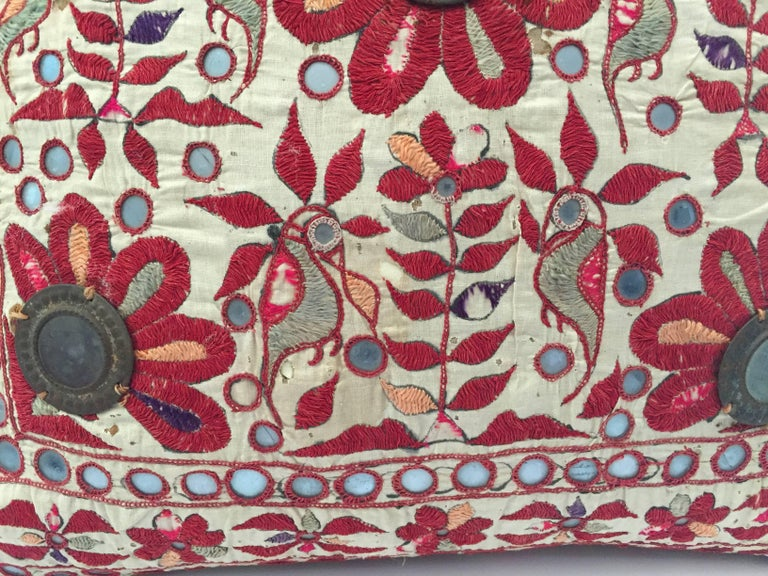 Hand-Crafted 19th Century, Rajasthani Colorful Embroidery and Mirrored Decorative Pillow For Sale