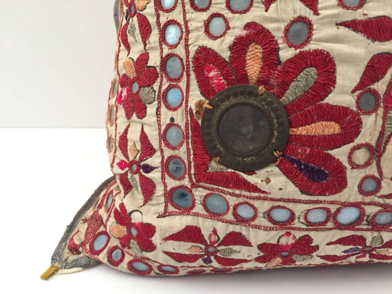 19th Century, Rajasthani Colorful Embroidery and Mirrored Decorative Pillow In Good Condition For Sale In Los Angeles, CA