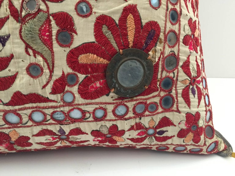 Silk 19th Century, Rajasthani Colorful Embroidery and Mirrored Decorative Pillow For Sale