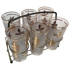 Set of Six Midcentury Libbey Highball Glasses in Brass Cart