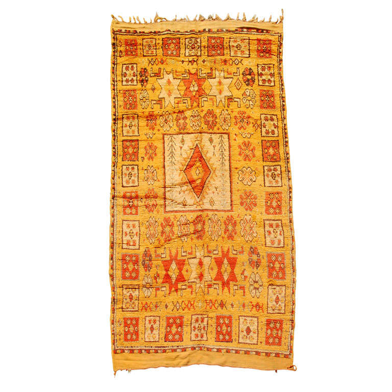 Vintage Moroccan Tribal Rug in Bright Safran Colors For Sale