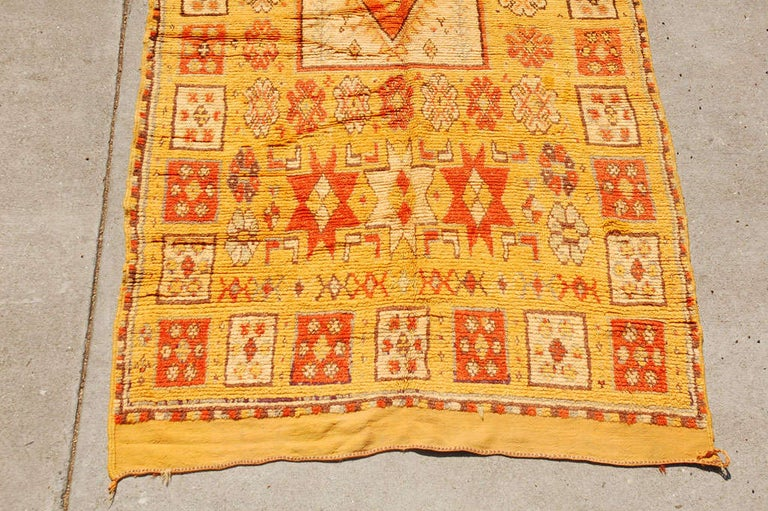 Hand-Crafted Vintage Moroccan Tribal Rug in Bright Safran Colors For Sale