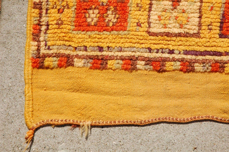 Mid-20th Century Vintage Moroccan Tribal Rug in Bright Safran Colors For Sale