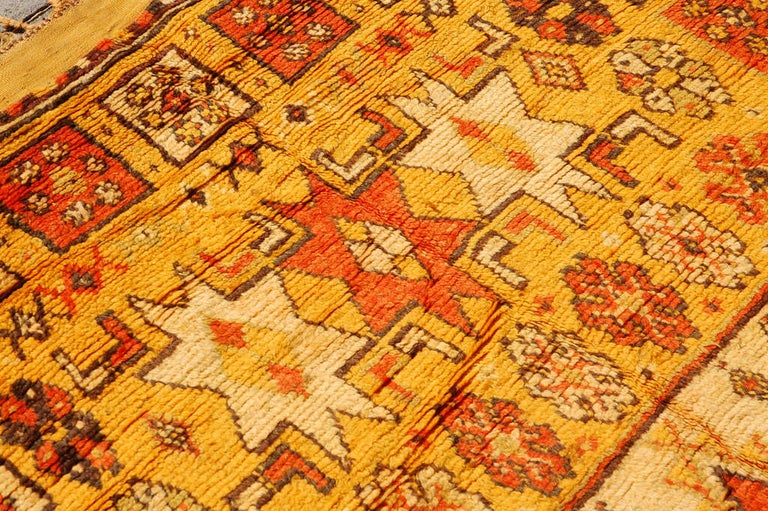 Vintage Moroccan Tribal Rug in Bright Safran Colors For Sale 1