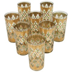 Vintage Set of Eight Culver Highball Glasses with 22-Karat Gold Valencia Design