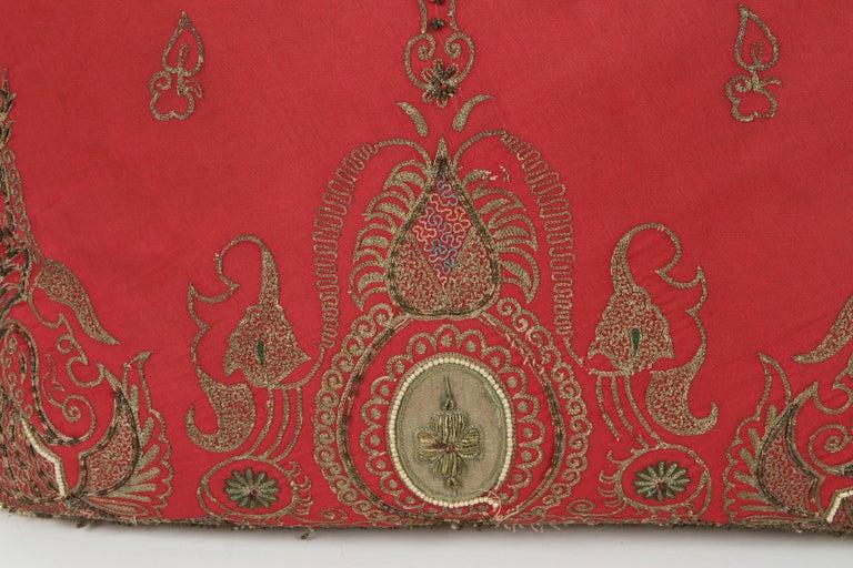 Moorish Pair of Antique Turkish Ottoman Silk Pillows with Metallic Threads For Sale